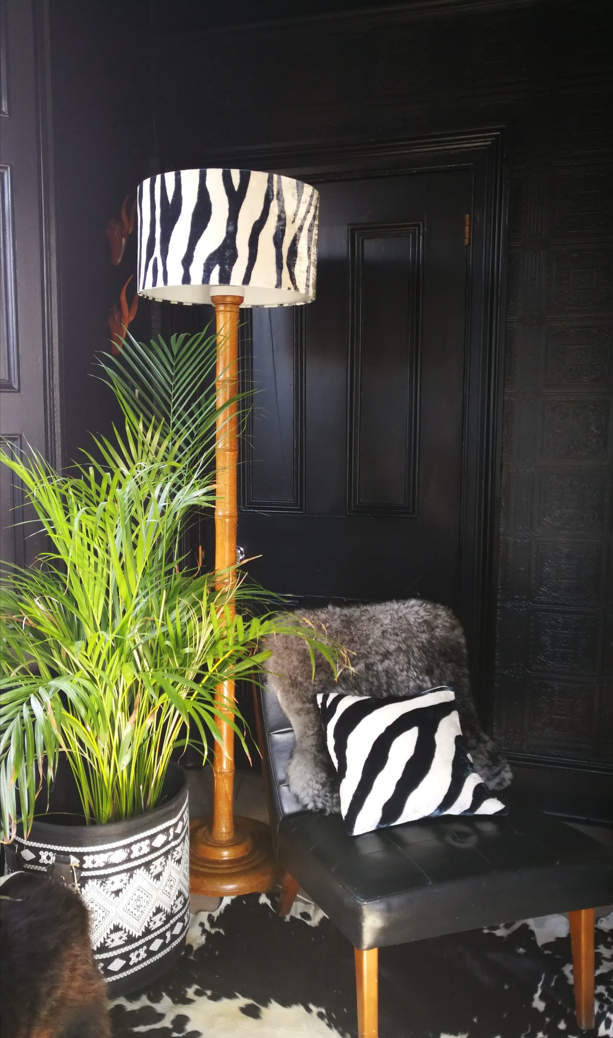 Zebra Hand Painted Velvet Lampshade black and white 45cm lamp fitting