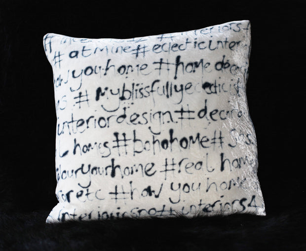 Hashtag Hand Painted Velvet cushion in black and white