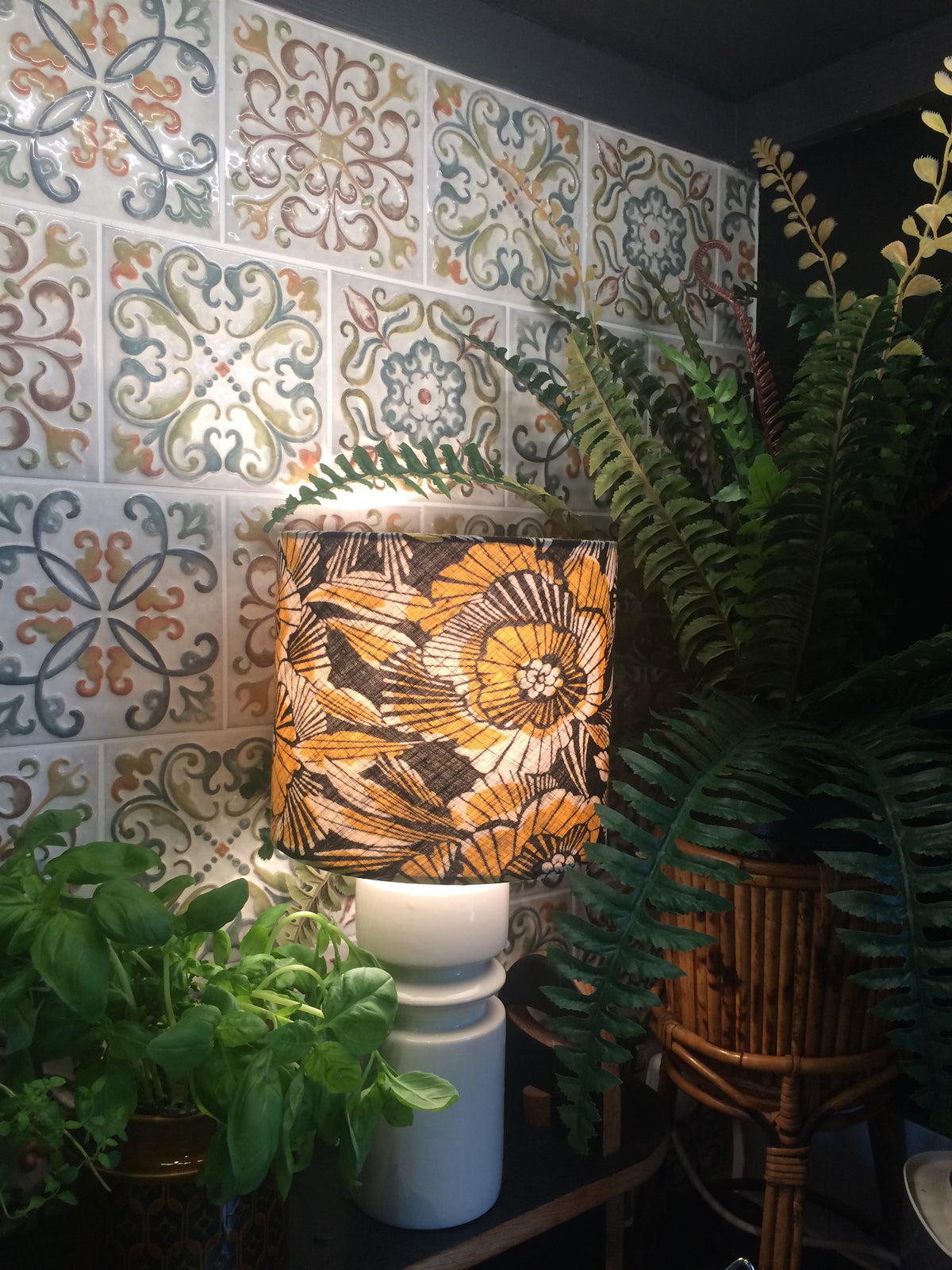 Rae Recycled Fabric Lampshade 20cm as lamp fitting