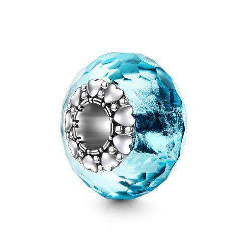 Pandora Compatible 925 sterling silver Blue Heart Core Glass Bead From CharmSA Image 1