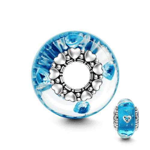 Pandora Compatible 925 sterling silver Blue Love Heart Core Murano Glass Bead From CharmSA Image 1