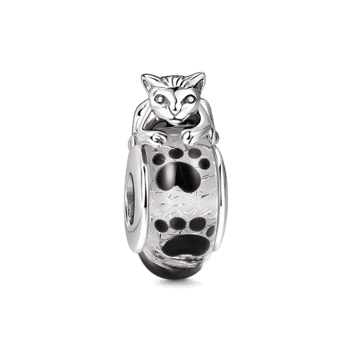 Pandora Compatible 925 sterling silver Cat Murano Glass Bead From CharmSA Image 1