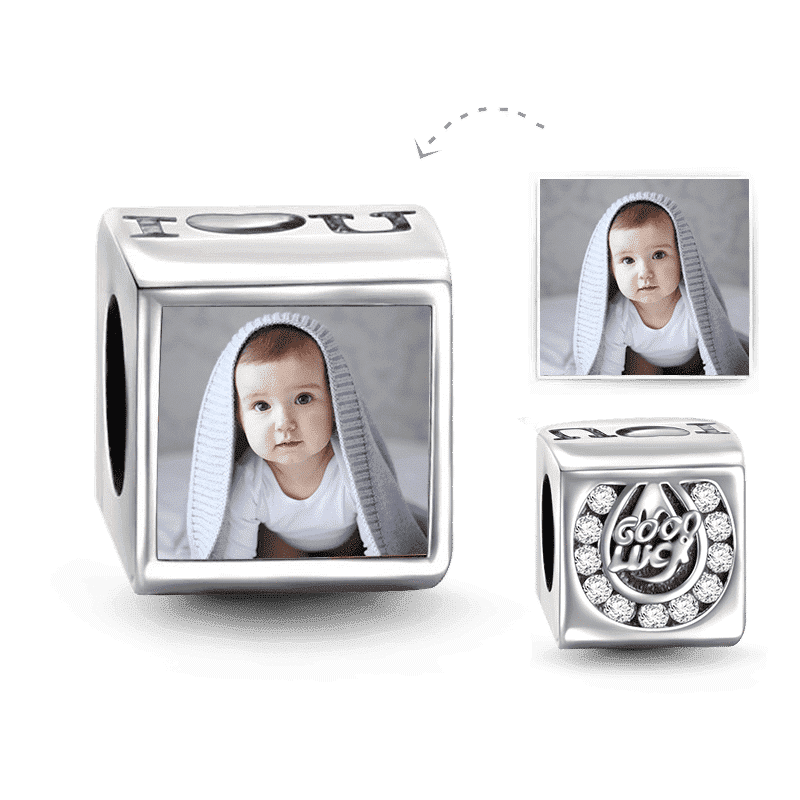 I Love You Square Photo Charm Silver
