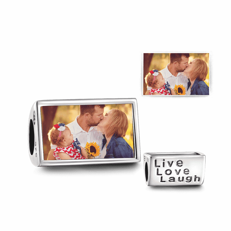 Pandora Compatible 925 sterling silver Live Love Laugh Photo Charm Silver From CharmSA Image 1