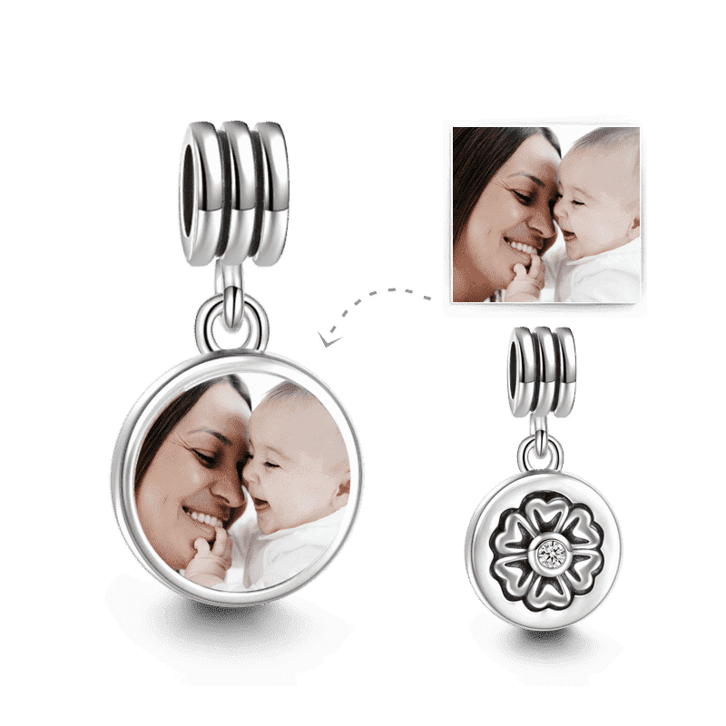 Petal Design Dangle Photo Charm Silver
