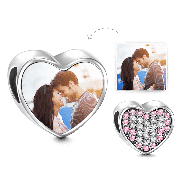 Pave Pink Swarovski Crystal Heart Photo Charm Silver