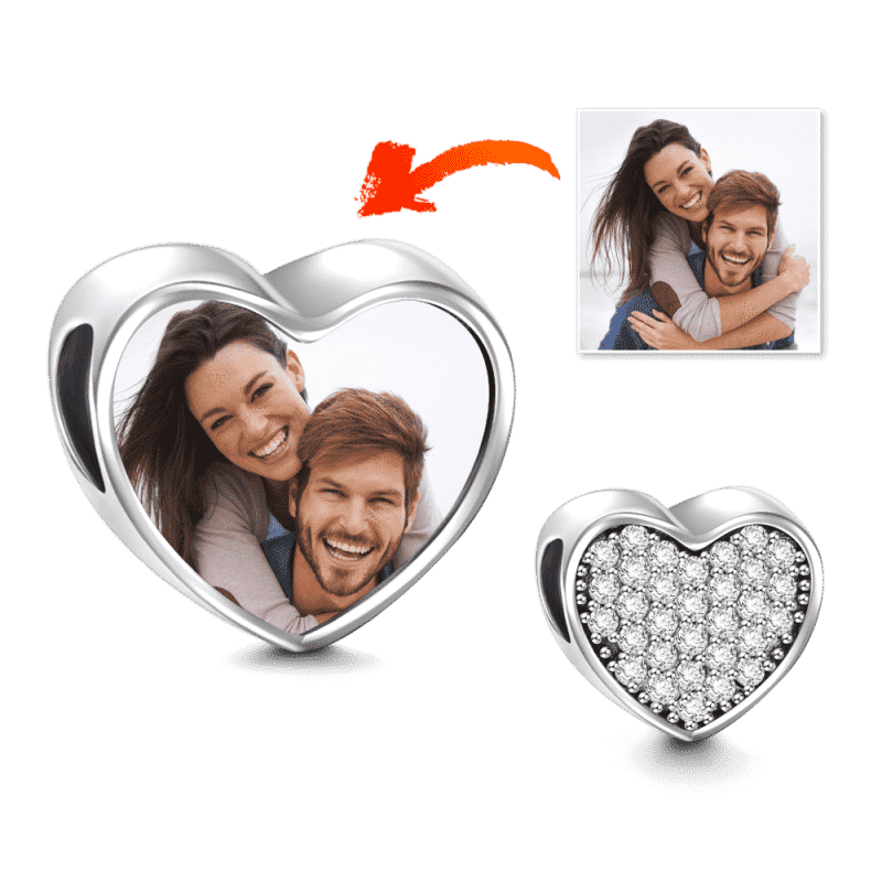 Heart Photo Charm with Pave CZ Silver