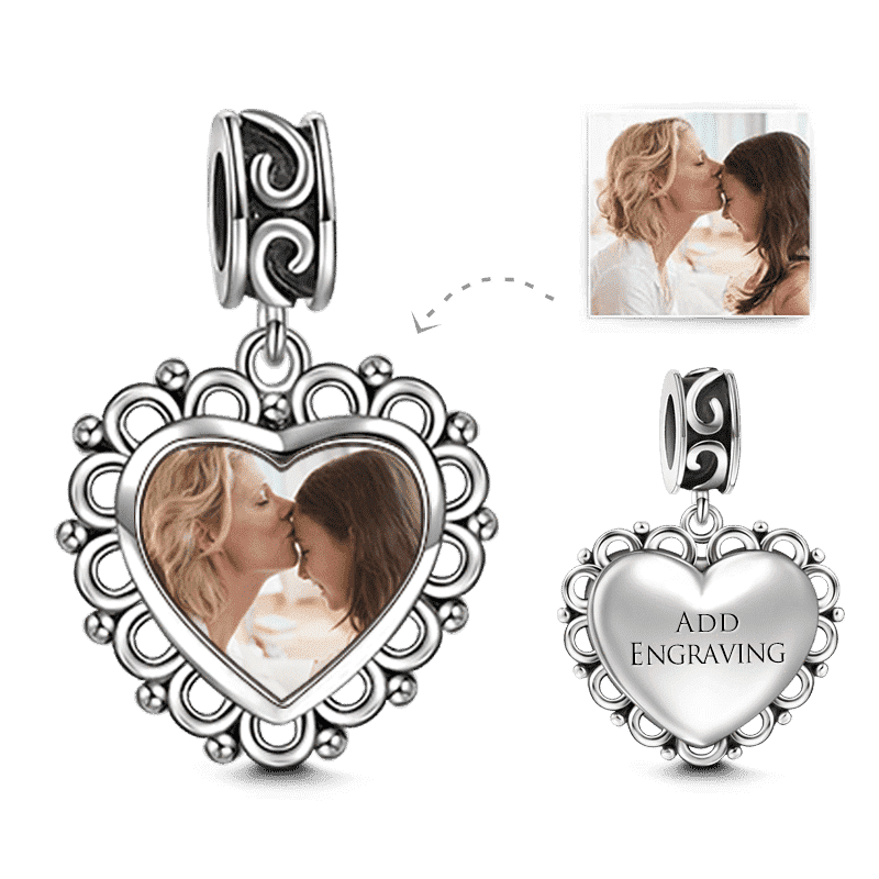 Heart Dangle Engraved Photo Charm Silver