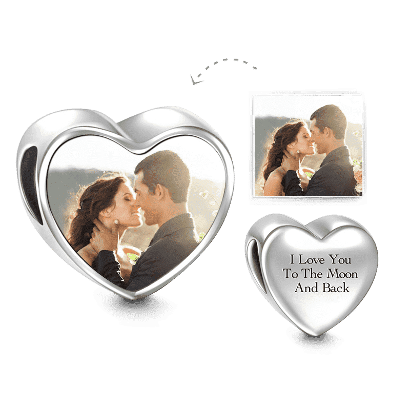 Love Forever Heart Photo Charm Silver