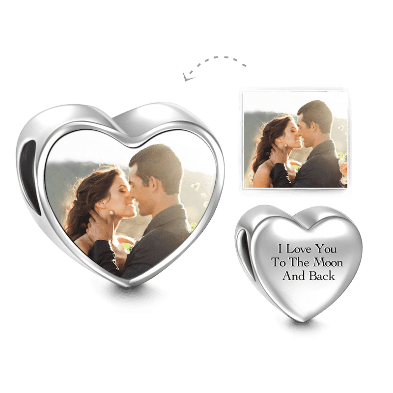 Heart Engraved Photo Charm Silver