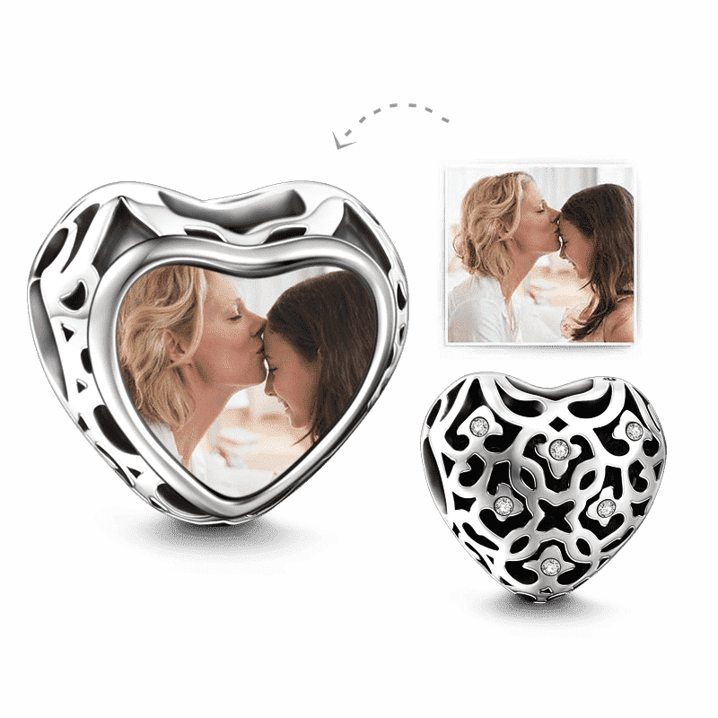 Pandora Compatible 925 sterling silver Openwork Swarovski Crystal Heart Photo Charm Silver From CharmSA Image 1