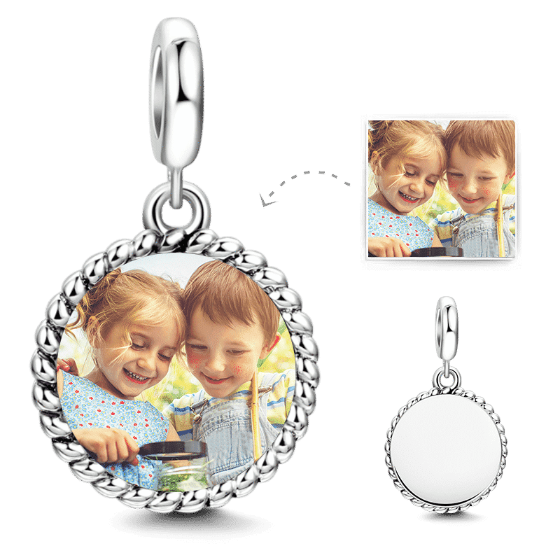 Round Shaped Dangle Photo Charm Silver