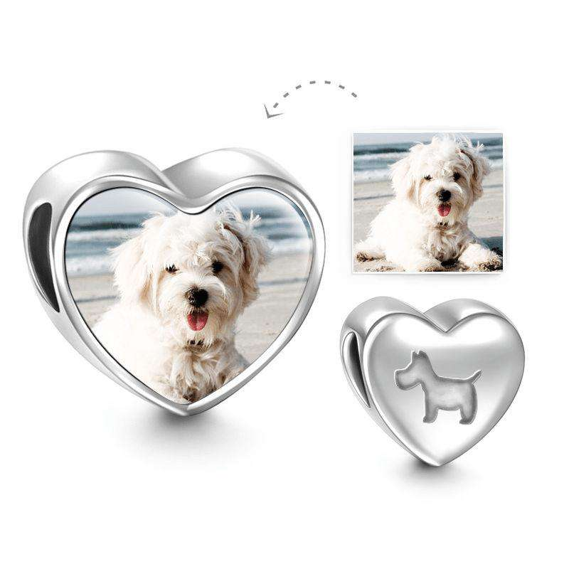 Pandora Compatible 925 sterling silver Pet Dog Heart Photo Charm Silver From CharmSA Image 1