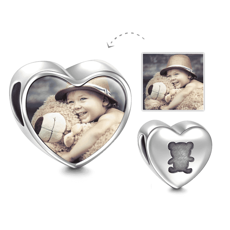Bear Design Heart Photo Charm Silver