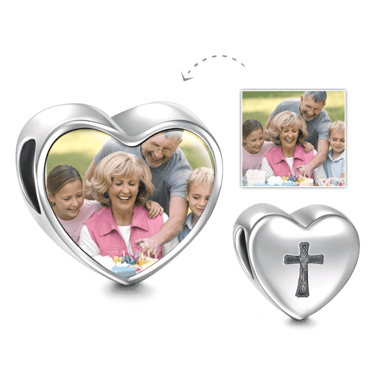 Cross Design Heart Photo Charm Silver