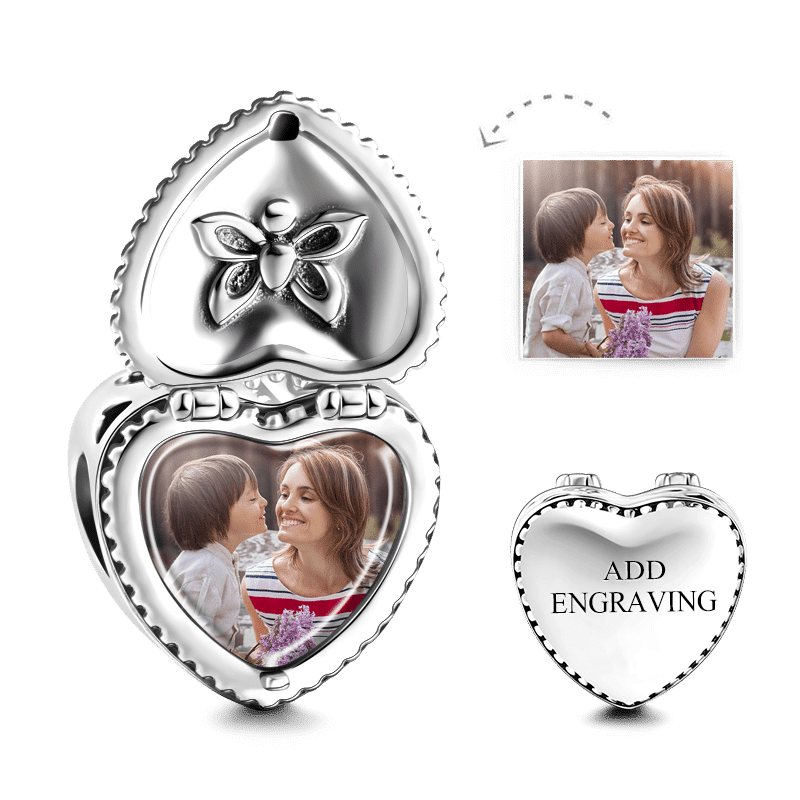 Pandora Compatible 925 sterling silver Heart Gift Box Engraved Photo Charm Silver From CharmSA Image 1