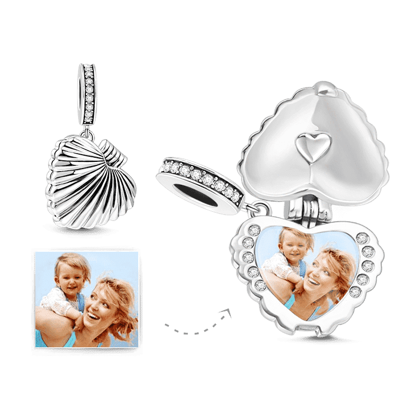 Shell Locket Photo Charm Silver