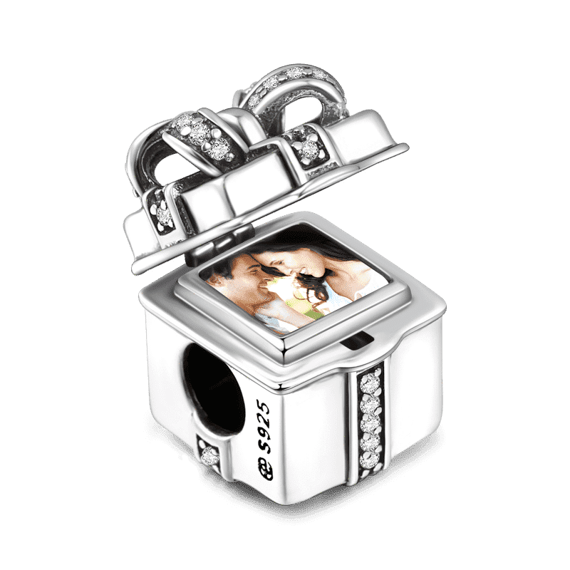 Pave CZ Gift Box Photo Charm Silver