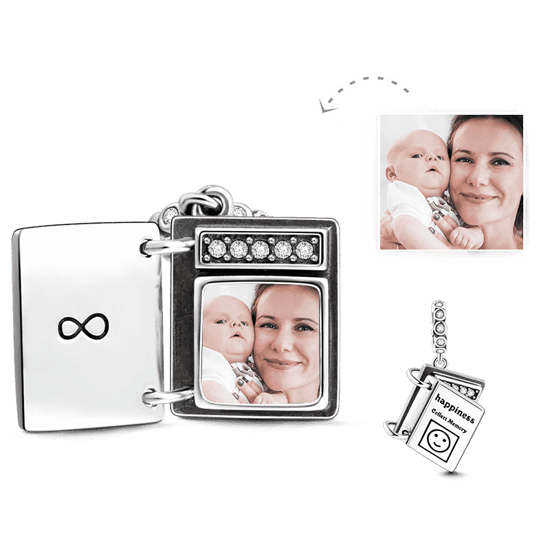 Swarovski Crystal Infinity Love Photo Album Photo Charm Silver