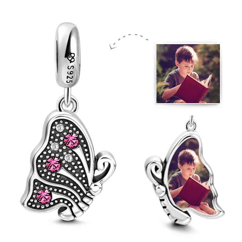 Swarovski Crystal Butterfly Photo Charm Silver