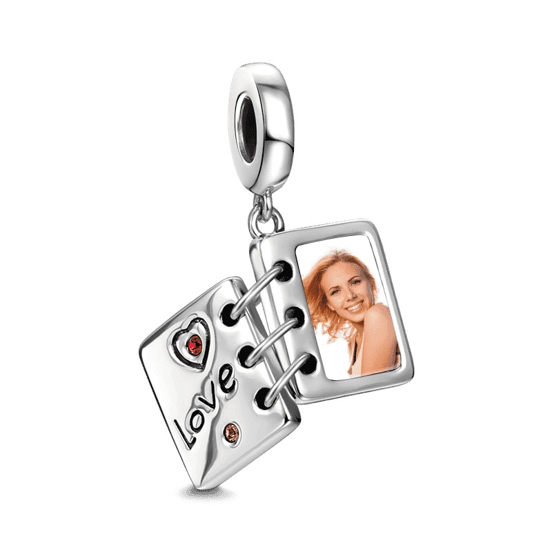 Swarovski Crystal Love Photo Album Photo Charm Silver