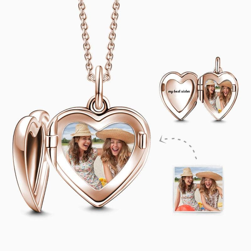 Engraved Heart Photo Locket Necklace Rose Gold Plated Silver From CharmSA Image 1