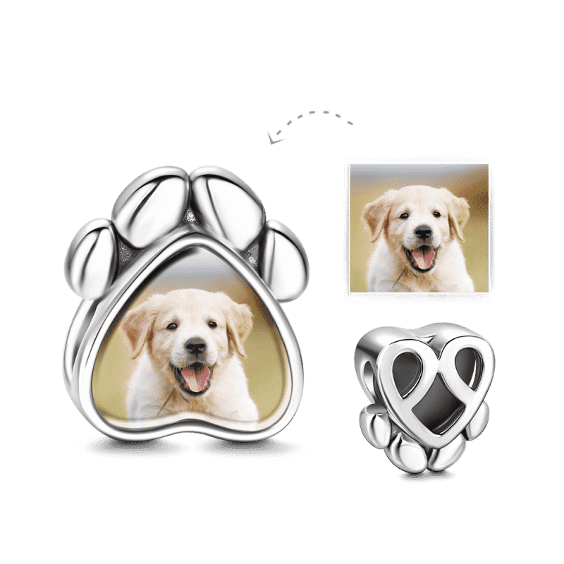 Dog Paw Photo Charm Silver