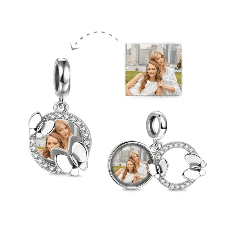 Pave CZ Photo Charm with Butterflies Silver