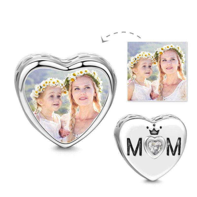 Pandora Compatible 925 sterling silver Elegant Mom Heart Photo Charm From CharmSA Image 1