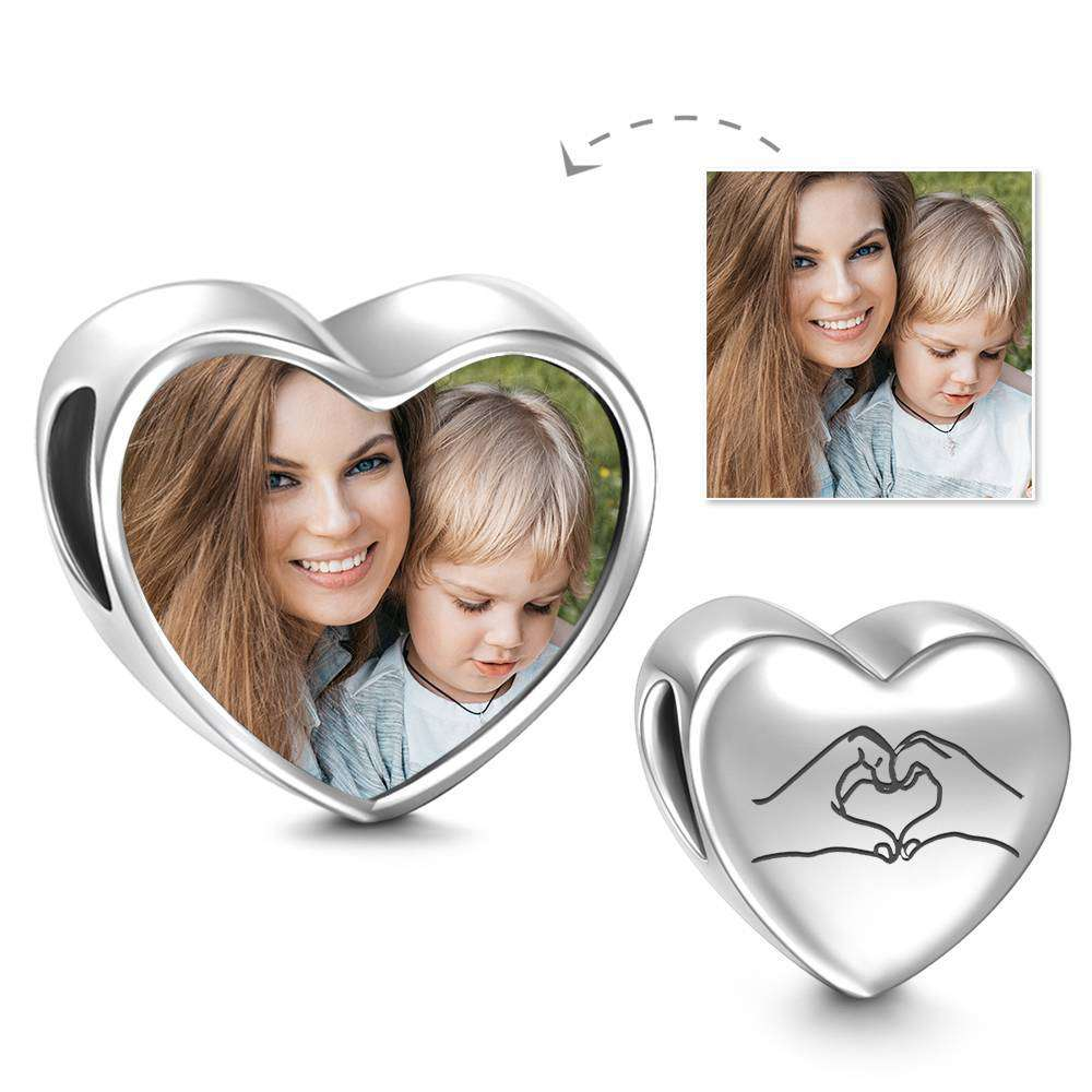 Love You Forever Heart Photo Charm
