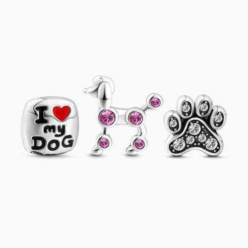 Love My Dog Petite Locket Charms Set Silver