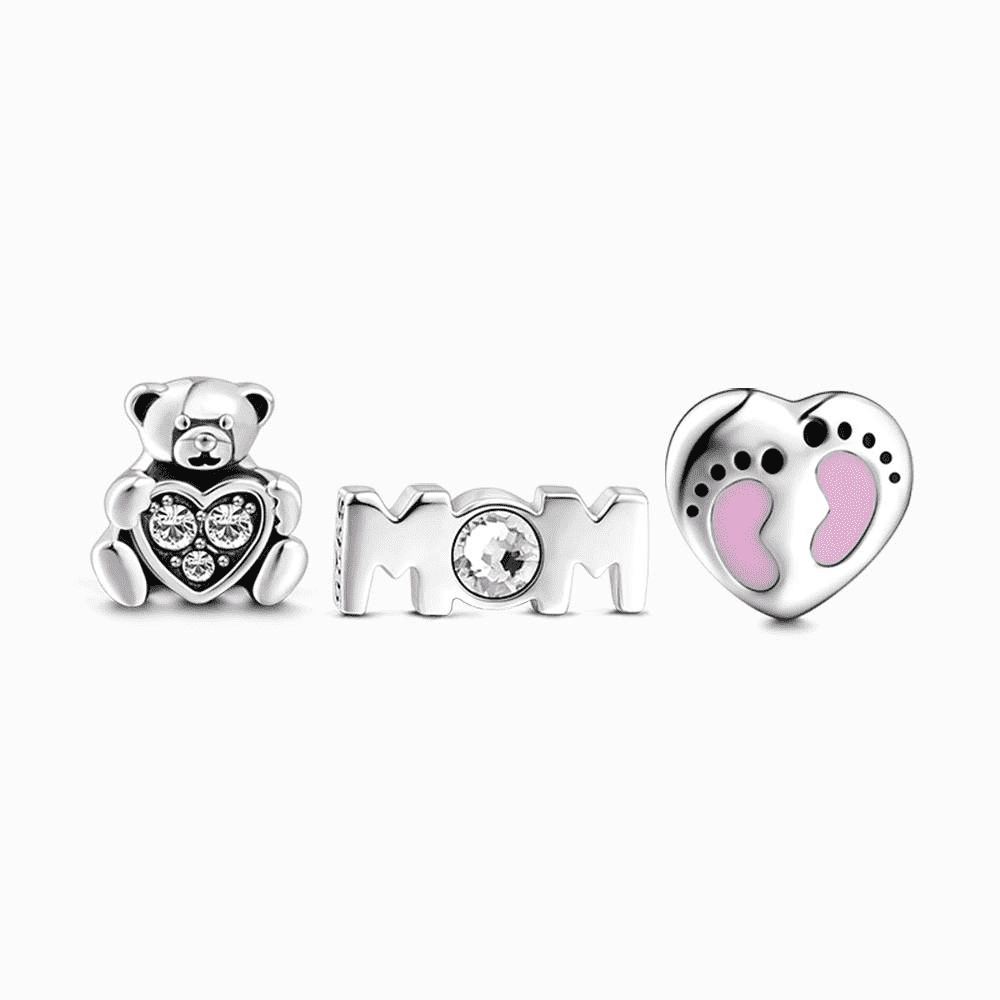 Mom and Baby Petite Locket Charms Set Silver CLT-007 Soufeel South 1181