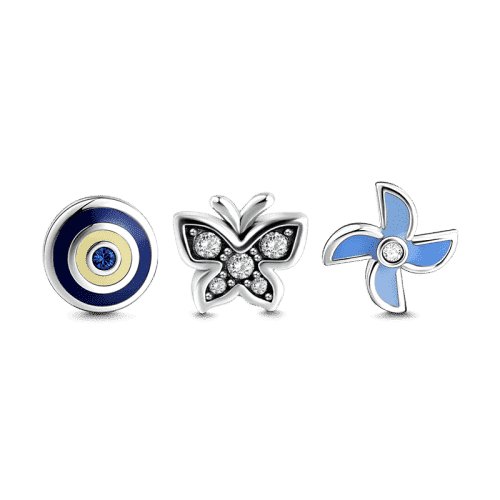 Windmill and Butterfly Petite Locket Charms Set Silver