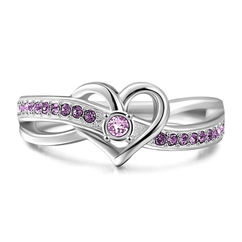 Personalized Birthstone Promise Ring Silver