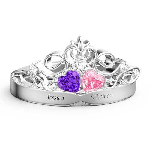 Personalized Heart Birthstone Crown Princess Promise Ring with Engraving Silver From CharmSA Image 1