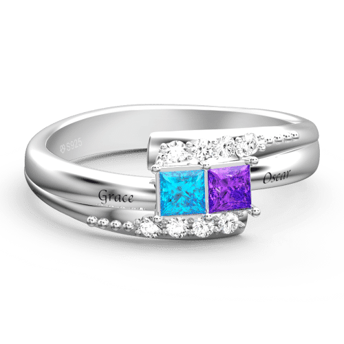 Engraved Birthstone Promise Ring Silver