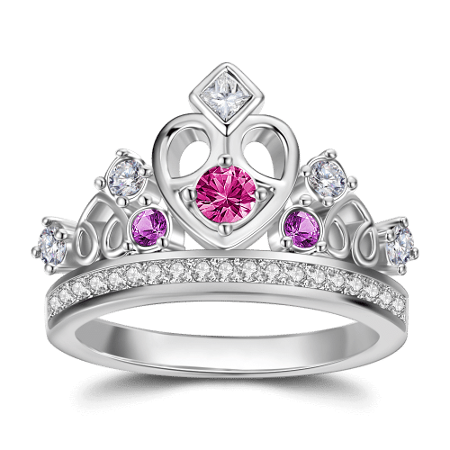 Personalized Birthstone Crown Princess Ring Silver