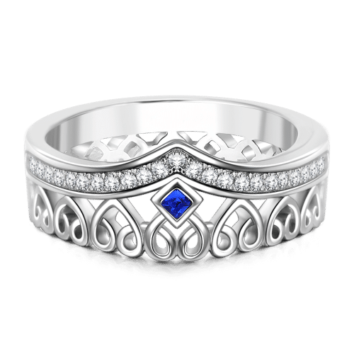 Personalized Birthstone Princess Ring Silver