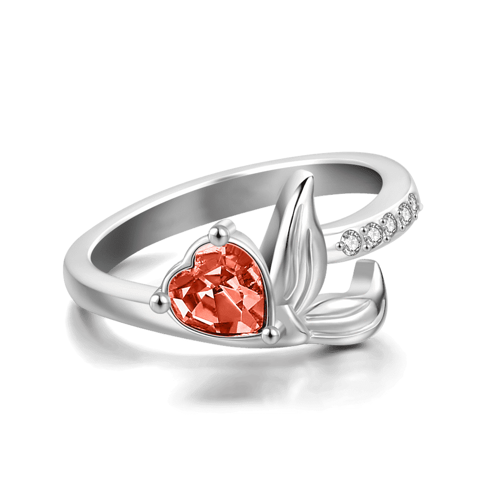 Personalized Birthstone Mystical Mermaid Ring Silver