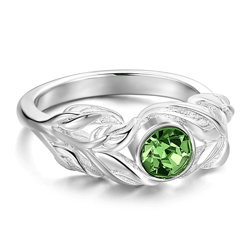 Personalized Birthstone Leaf Ring Silver