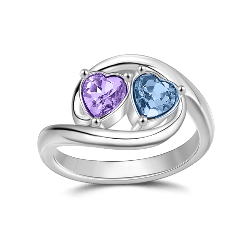 Personalized Birthstone Two Hearts Love Ring Silver