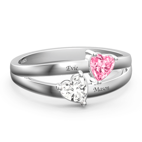 Personalized Birthstone with Engraving Promise Ring Silver From CharmSA Image 1