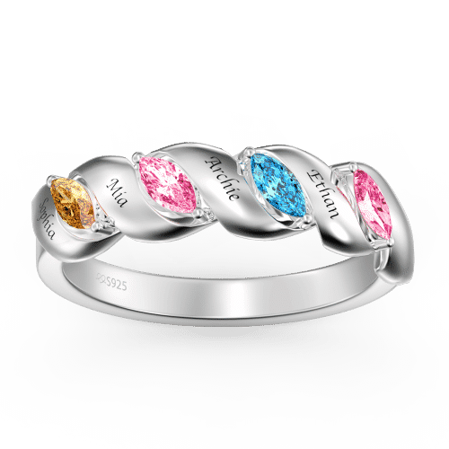 Personalized Birthstone Mother's Ring with Engraving Silver