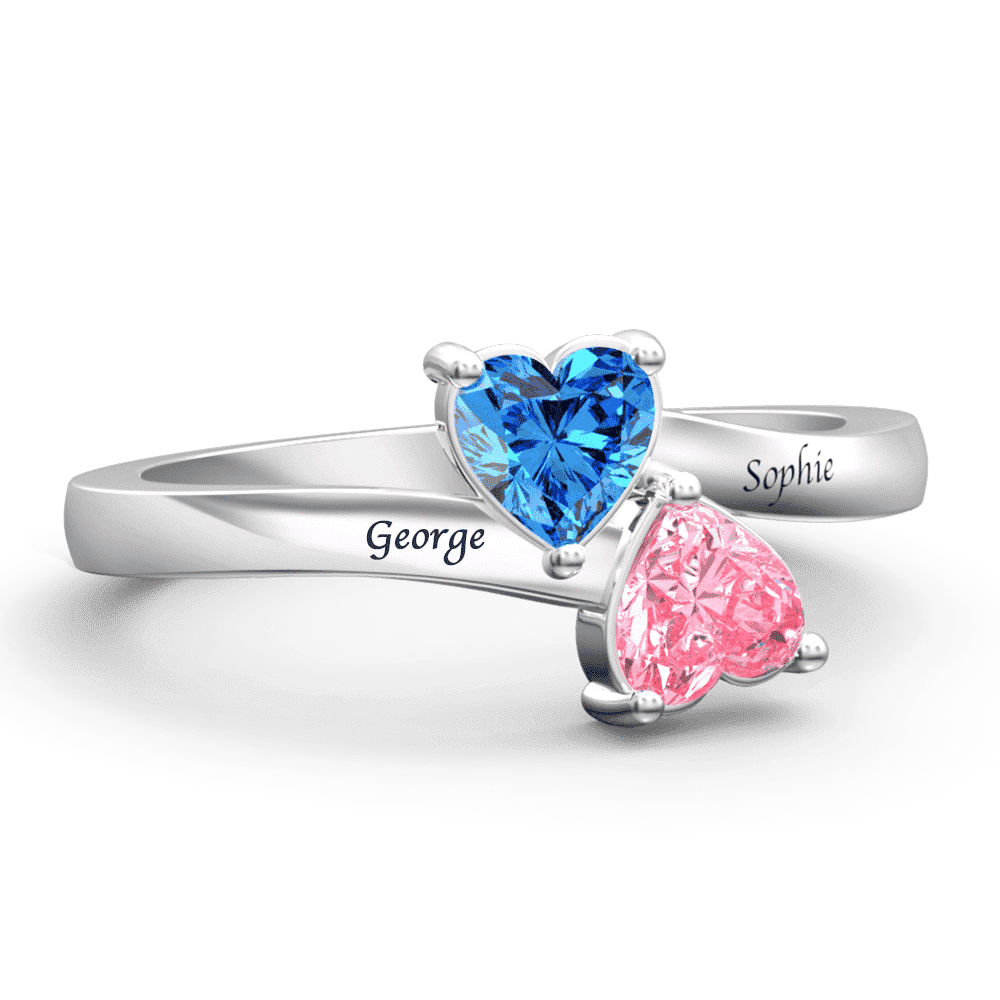 Personalized Birthstone with Engraving Double Heart promise Ring Silver