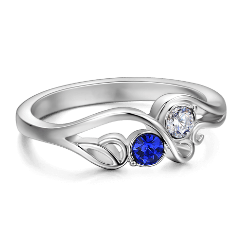 Personalized Birthstone Ring Silver