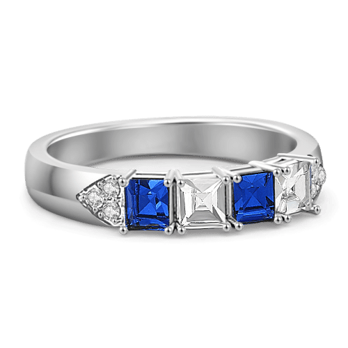 Personalized Birthstone Classic Princess Cut Ring Silver