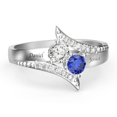Personalized Birthstone Promise Ring with Engraving Platinum Plated Silver