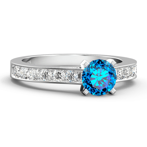 Personalized Birthstone Promise Ring Platinum Plated Silver
