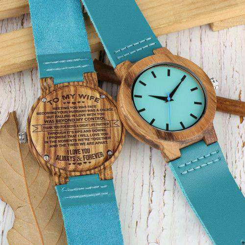 Blue Wooden Watch To My Wife