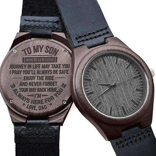 Black wooden watch dad to son